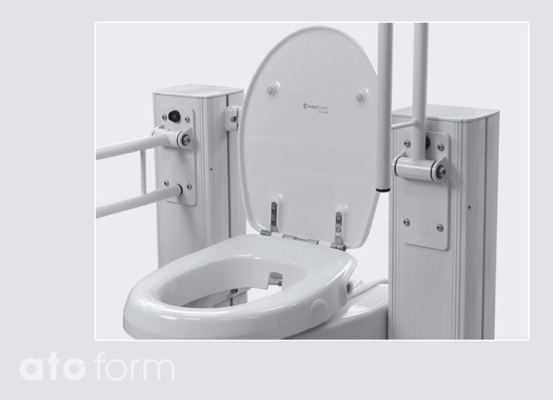 In hoogte verstelbare toiletzitting en opklapbare armsteunen